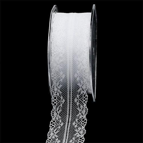 Dekorativ båndblonde hvit 40mm 20m