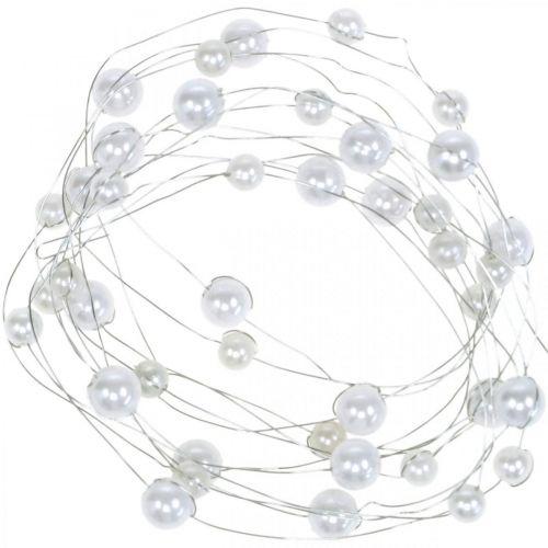 Dekorativ wire, perlekjede til dekorering, bryllupsdekorasjon, perlebånd, krans 2,5m