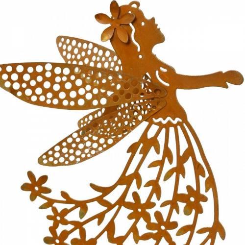Dekorativ plugg blomsteralv, vår, metallpynt, fe på pinne, patina