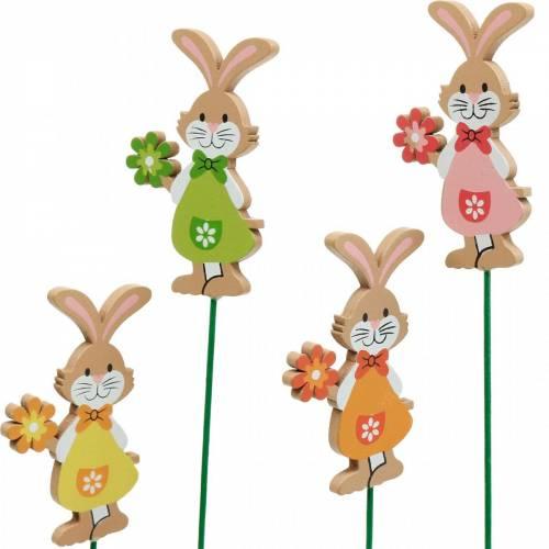 Dekorativ plugg Påskehare med blomster påskedekorasjon trekaniner på pinne 24stk