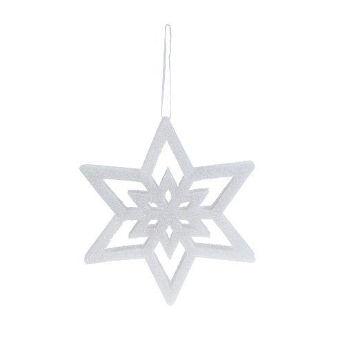 Dekorativ stjernehvit, snødekt 28cm L40cm 1 stk