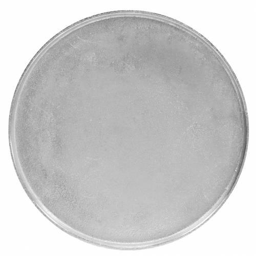 Dekorativ plate leire Ø31cm sølv