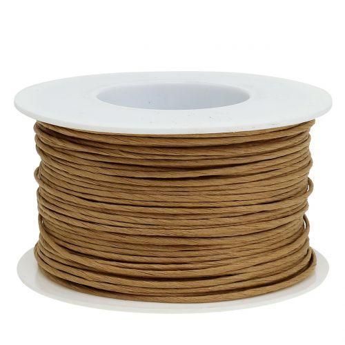 Papirtråd, tråd innpakket i Ø2mm, 100m naturlig