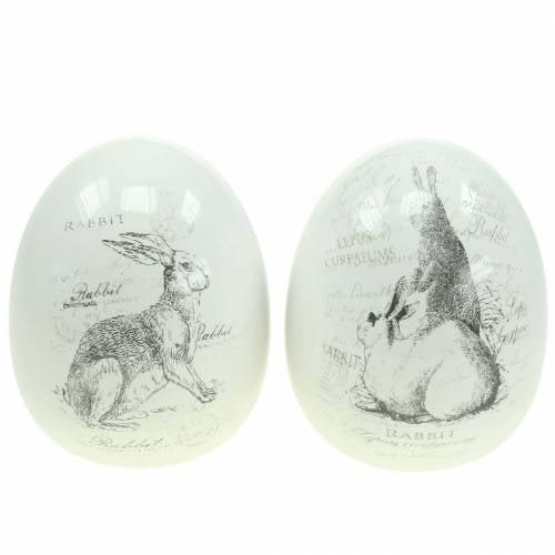 Egg keramisk hvit kanin Ø12,5cm H16cm 2stk