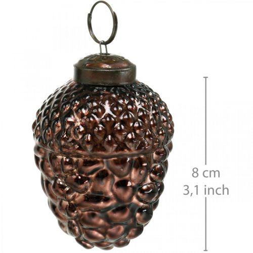 Acorn glassbrune dekorative kjegler til hengende adventsdekorasjon 5,5 × 8cm 12stk