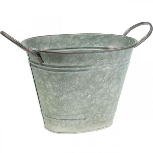 Planter kar, metallbeholder med håndtak, dekorskål L32cm H24cm