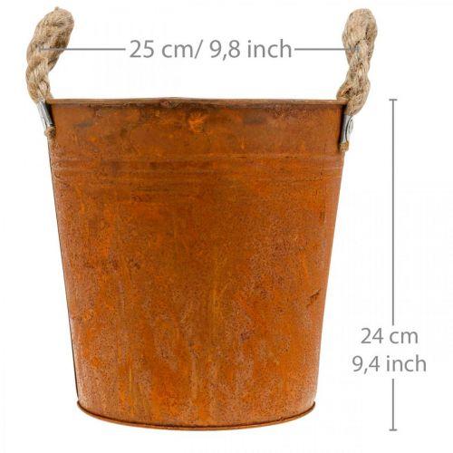 Planter med håndtak, planterskål, metallkar med rustpynt Ø25cm H24cm