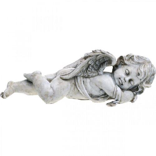 Grav dekorasjon engel sover Grav engel grå polyresin 39 × 14x13cm
