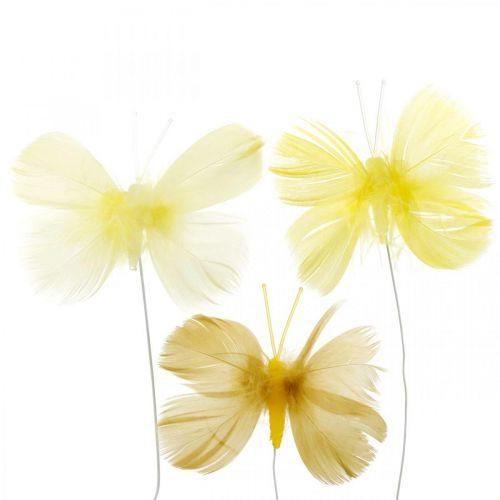 Dekorative sommerfugler på en ledning, vårdekorasjoner, fjærsommerfugler i gule nyanser 6stk