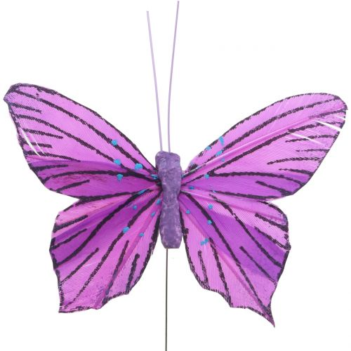 Fjærsommerfugler lilla 8,5cm 12stk