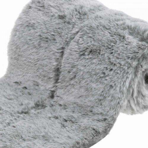 Dekorativ pelsbånd grå fuskepels for håndverk borddekorasjon 15 × 150cm