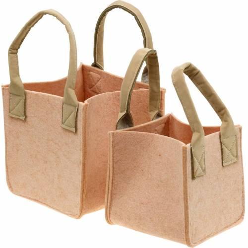Filtplanter, rosa filtpose med håndtak, filtdekorasjon, sett med 2