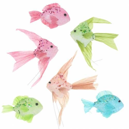 Dekorativ fisk å henge grønn rosa oransje blå 13-24cm 6stk