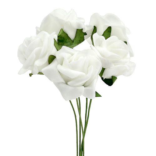 Foam Rose Ø 3,5 cm hvit 48stk