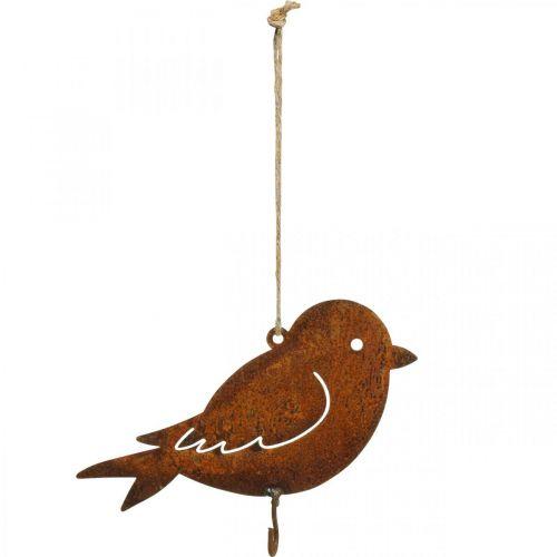 Dekorativ fugl, matoppheng, metalldekorasjon rustfritt stål 19 × 13,5 cm