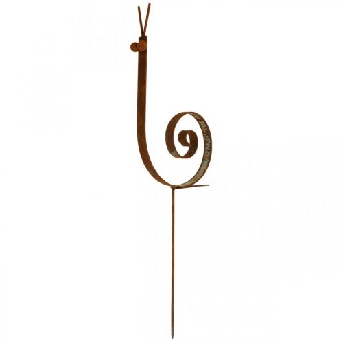 Hageplugg snegl stor rust metall hagedekorasjon H94cm