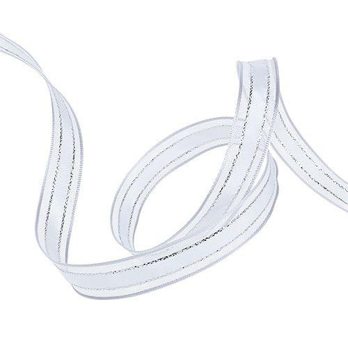 Gavebånd med trådkant hvit 15mm 20m
