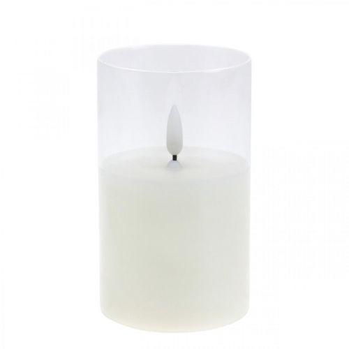 LED -lys i glass med flammeeffekt, innendørs lys varmt hvitt, LED med timer, batteridrevet Ø7,5 H12,5cm