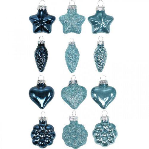 Mini juletrepynt blanding glassblått, glitter diverse 4cm 12stk
