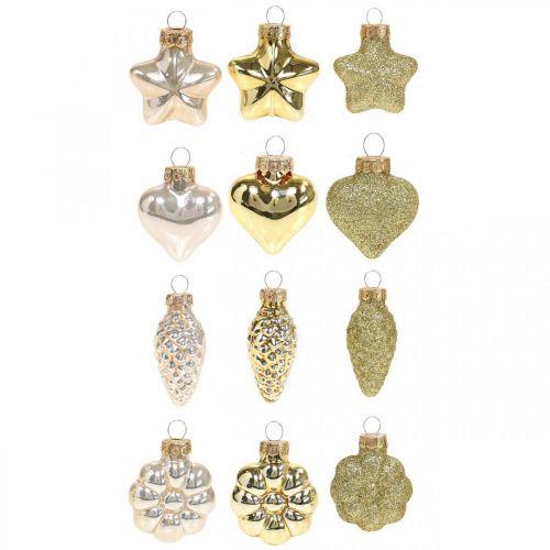 Mini juletrepynt blander glassgull, diverse perlefarger 4cm 12stk