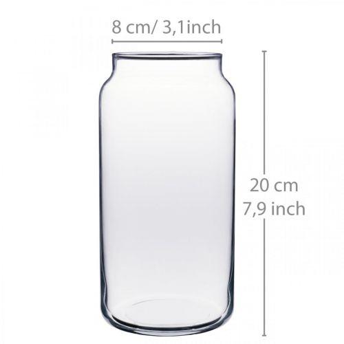 Blomstervase glass klart glass vase borddekorasjon Ø8cm H20cm