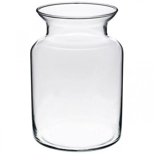 Blomstervase av glass bred klar Ø12cm H20cm