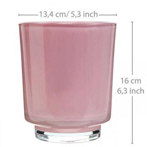 Glassplanter, orkidépotte, dekorativ vase rosa H16cm Ø13,4cm