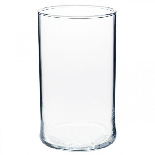 Vase i klart glass sylindrisk Ø12cm H20cm