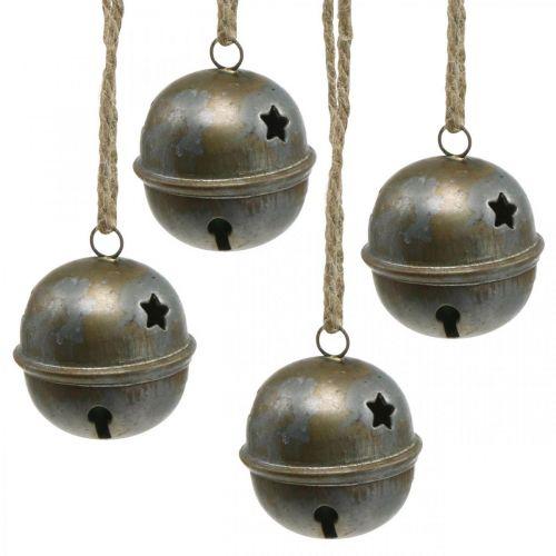 Juleklokker, klokker med stjerner, adventsdekorasjon metall antikk utseende H5.5cm Ø5cm 4stk