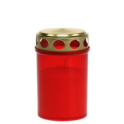Gravlys sylindrisk rød Ø6cm H10cm 12stk
