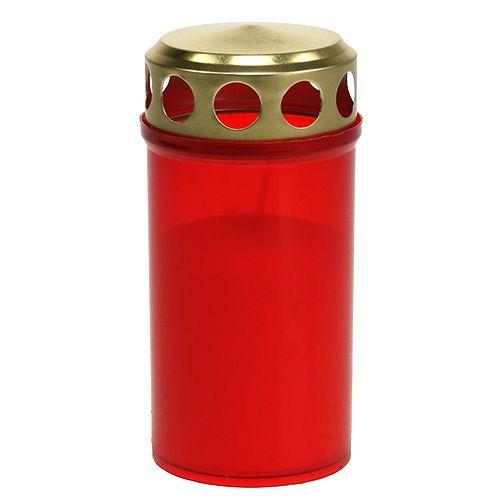 Gravlys sylindrisk rød Ø6cm H12cm 12stk