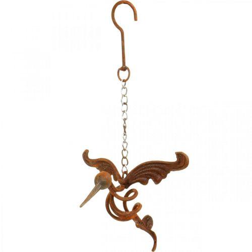 Kolibri hagedekorasjon rustfritt stål fugl for oppheng 24 × 19cm