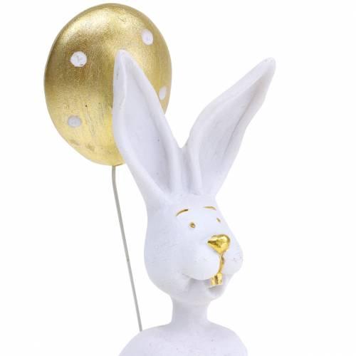Sittende kanin med ballonghvit, gull H13,5cm 2stk