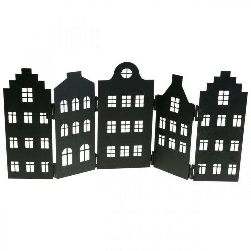 Deco house metall svart stativ bysilhouette 40 × 18cm