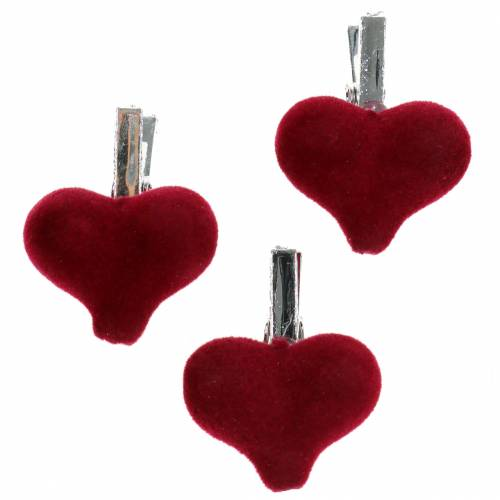 Dekorativt hjerte med klips rød 3cm 8stk