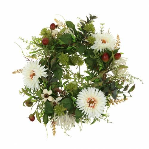 Høstkrans krysantemum hvit Ø30cm