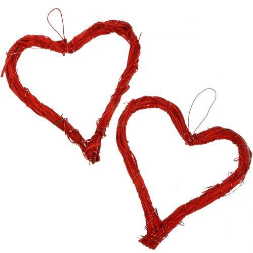 Bast hjerte å henge rødt 15cm 8stk