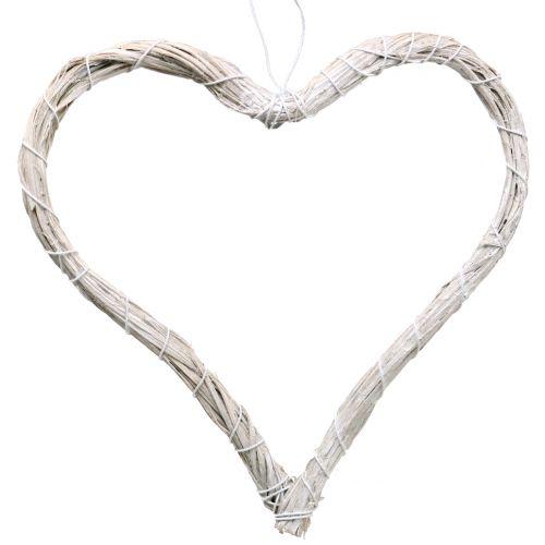 Bast hjerte å henge hvitt 20cm 6stk