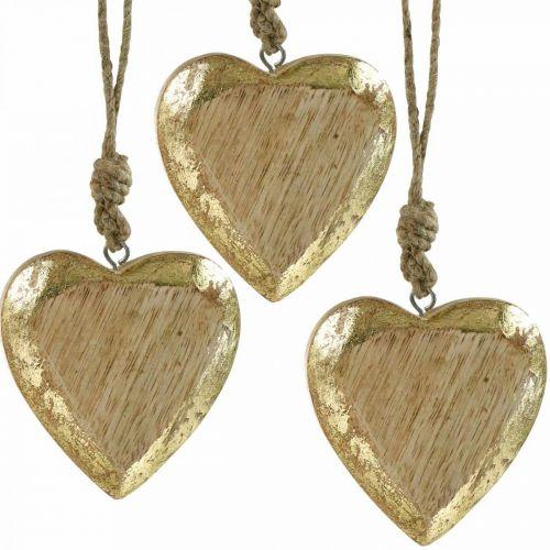 Hjerter å henge, mangotre, tredekor med gulleffekt 8,5 cm × 8 cm 6stk