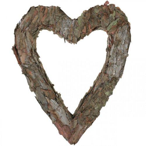 Deco hjerte åpen furubark høstdekorasjon gravpynt 30 × 24cm