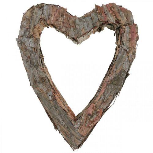 Deco hjerte tre furu bark 40 × 32cm