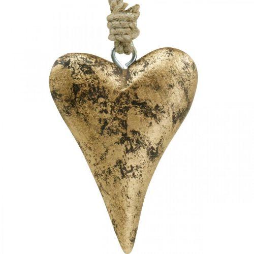 Trehjerte gulleffekt, Valentinsdag, bryllupsdekorasjon 10 × 7cm