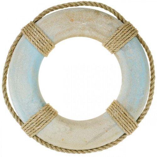 Svømming av tre, maritim dekorasjon, redningsbøye Ø31cm