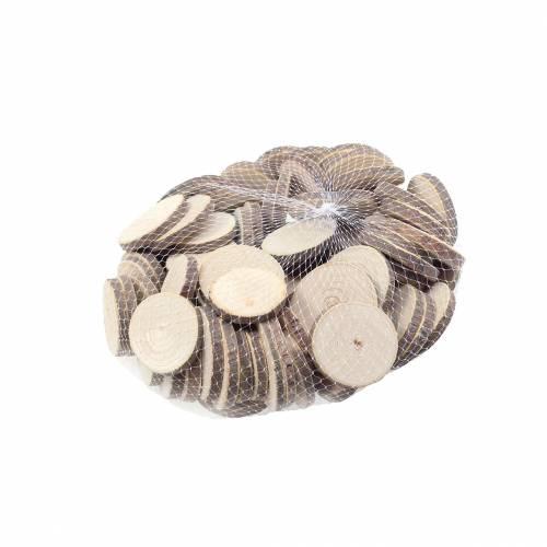 Treskiver runde naturlige Ø3,5–5cm 400g i et nett