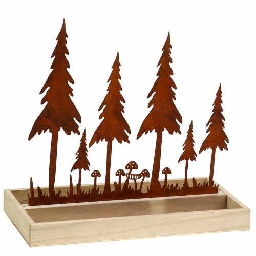 Trebrett, skogsilhouette, rustfritt stål rust, 30cm x 15cm