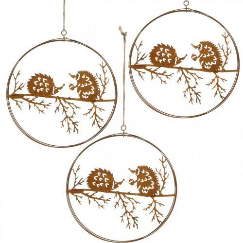 Metallheng, pinnsvin på gren, patina, høstdekorasjon, dekorativ ring Ø15,5cm 3stk