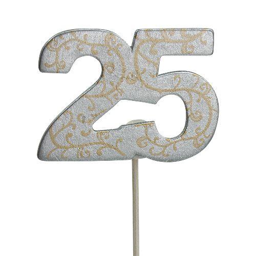 """Jubileumsnummer """"25"""" laget av tre sølv 36stk"""