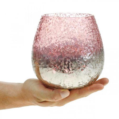 Glasslykt, telysholder, borddekorasjon, lyseglass rosa / sølv Ø15cm H15cm