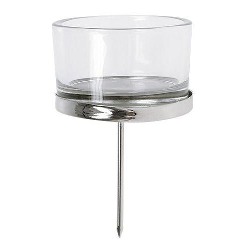 Lysestake med glass sølv 4stk