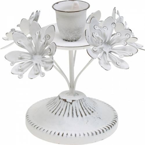 Stearinlys dekorasjon, vår, lysestake med blomster, metall dekorasjon til bryllupet